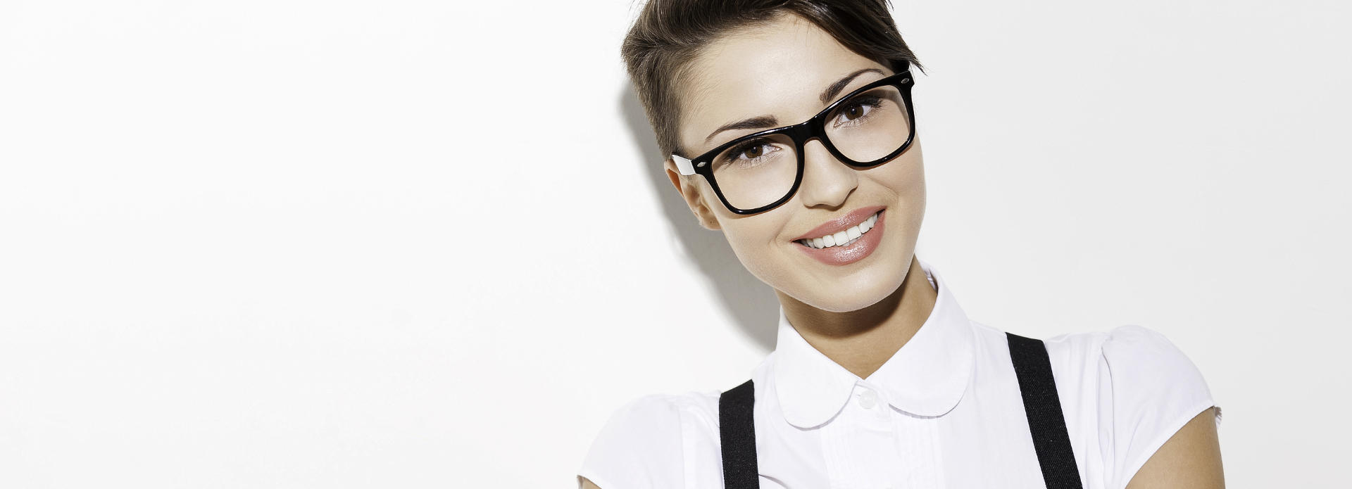 happy, beautiful woman in glases