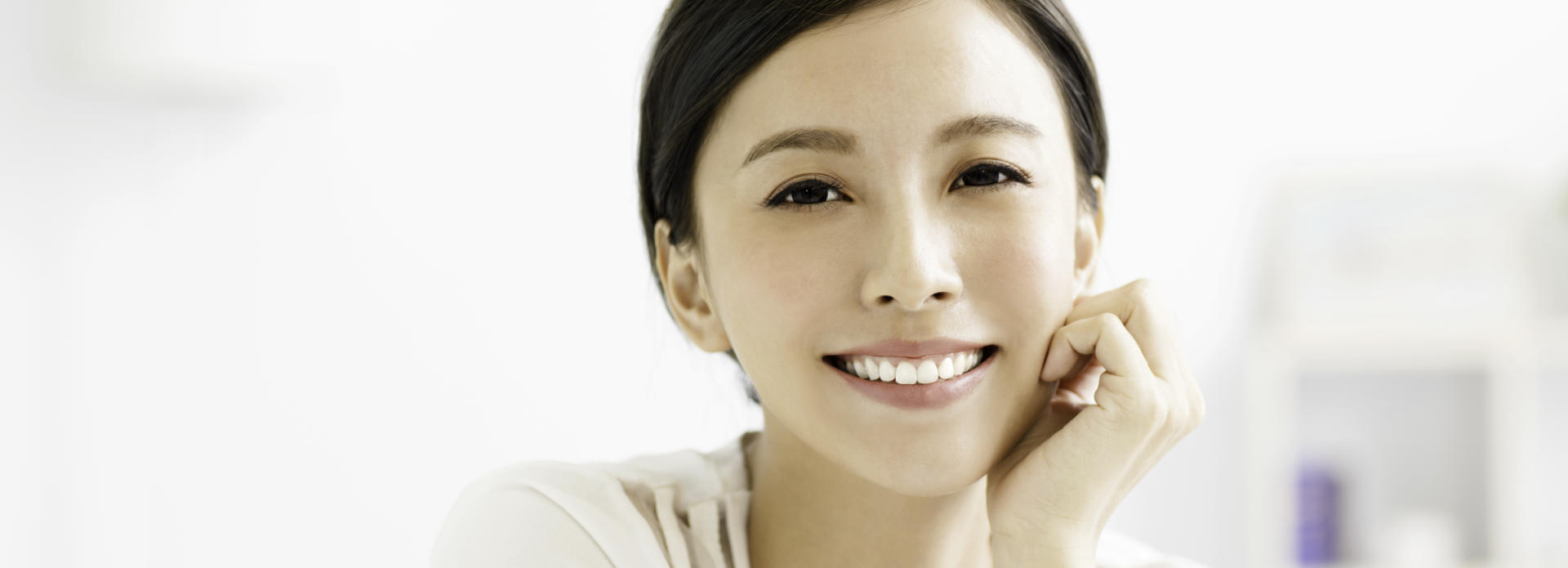 cheerful woman with perfect skin and beautiful smile