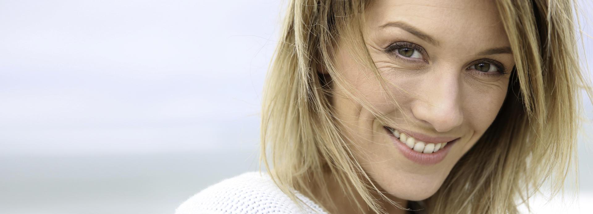 beautiful, calm, smiling blonde