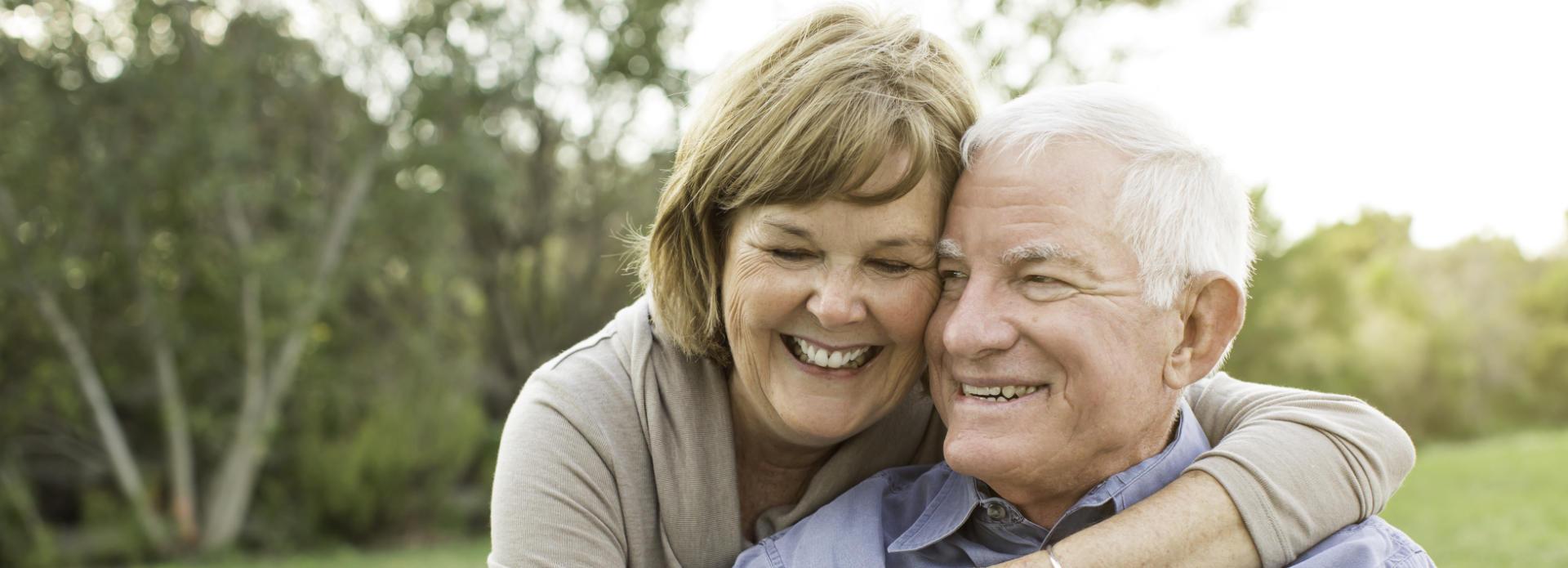 joyful elderly couple