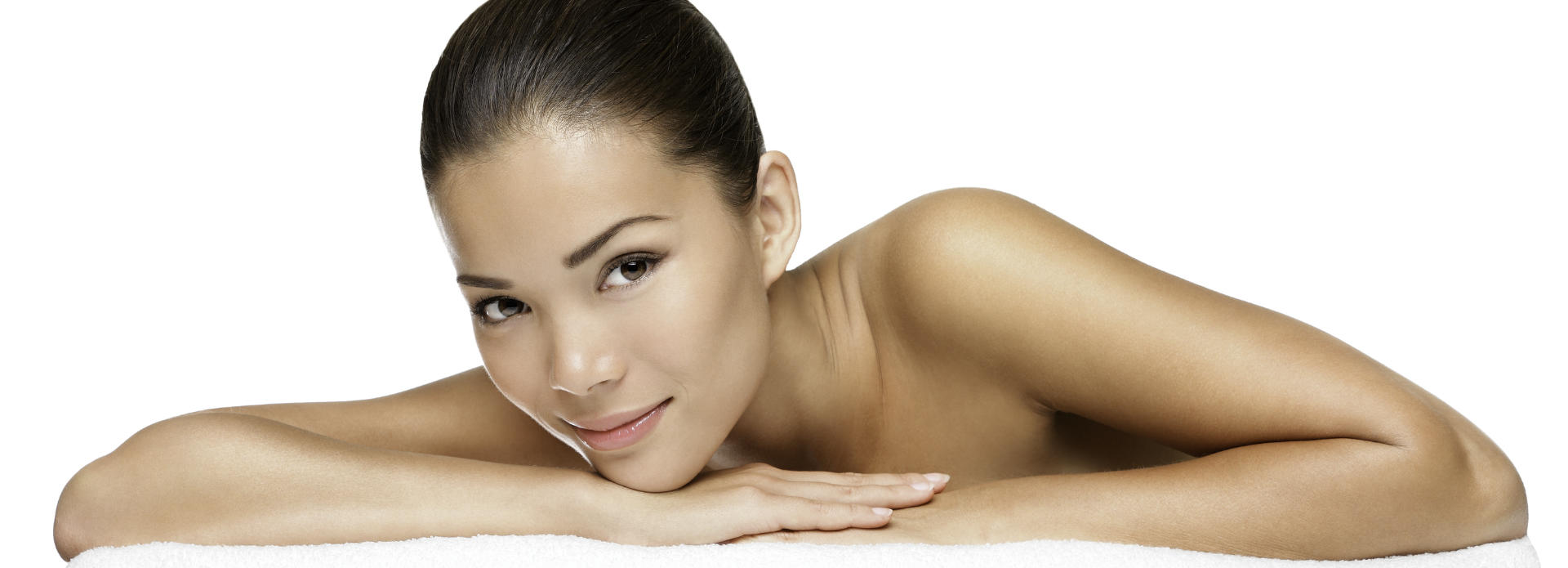 Youthful face of a beautiful woman with flowless skin after microneedling treatment.