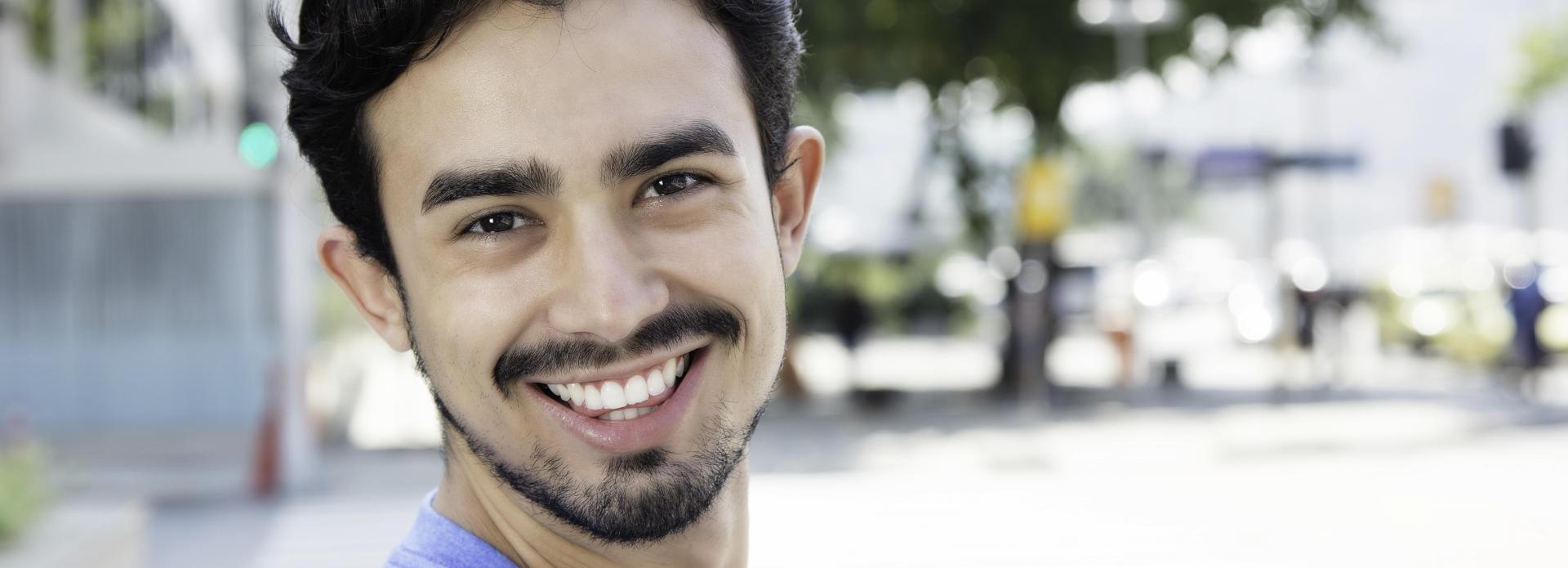 cheerful, smiling man