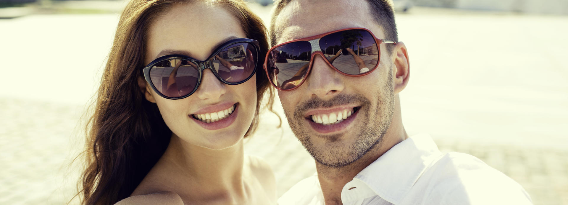 happy couple in sunglasses, beautiful people